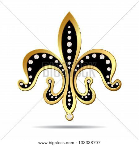 Black fleur-de-lis with a gold rim and decorated with diamonds, decorative design or heraldic symbol on white background. Vector illustration