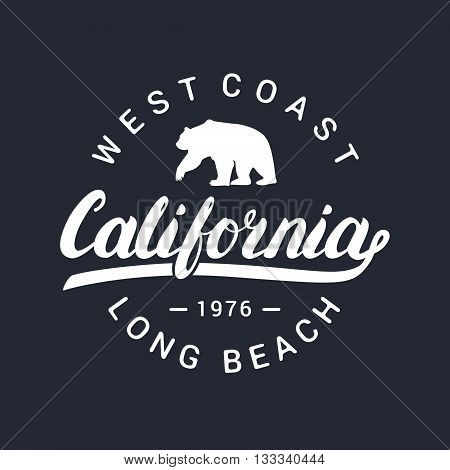 California handwritten lettering. Tee apparel fashion design. Bear silhouette. Vector illustration.