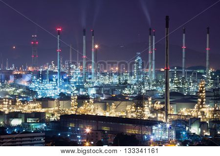 Refinery plant area at night, Industrial background