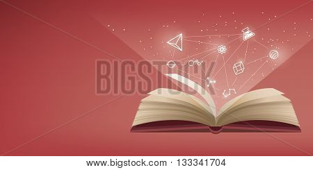The red book is open the icon refers to knowledge and learning.
