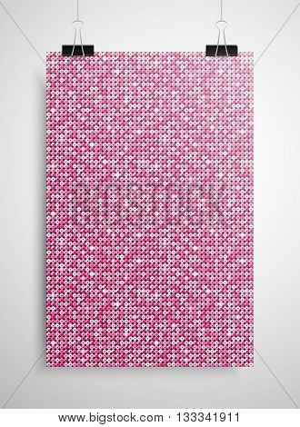 Abstract background. A poster on the wall at the terminals of the paper. Pink sequin background. EPS 10.