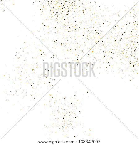 Golden glitter shine texture on a white background. Golden explosion of Confetti. Golden abstract particles on a light background. Isolated Holiday Design elements. Vector illustration