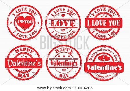 Stamp Happy Valentine's Day And I Love You.