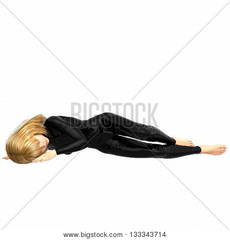 one teen girl in a black super suit. Lying on his side. 3D rendering, 3D illustration
