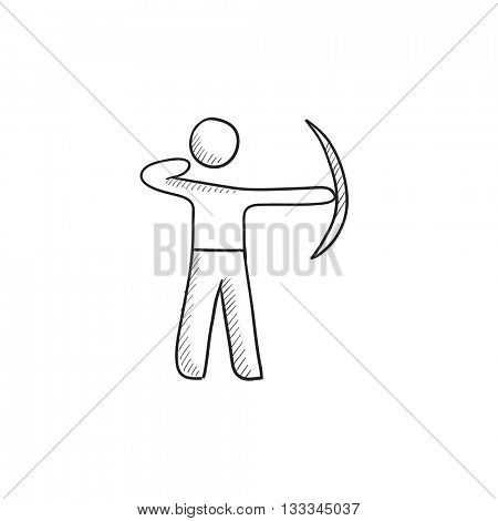 Archer training with bow vector sketch icon isolated on background. Hand drawn Archer training with bow icon. Archer training with bow sketch icon for infographic, website or app.