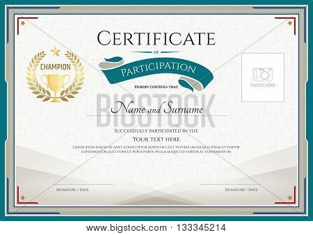 Certificate of participation template with green broder gold trophy champion wreath and photo space