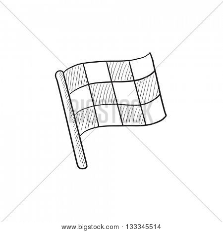 Checkered flag vector sketch icon isolated on background. Hand drawn Checkered flag icon. Checkered flag sketch icon for infographic, website or app.