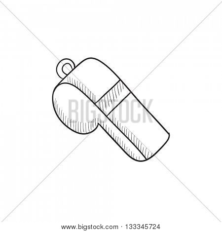 Whistle vector sketch icon isolated on background. Hand drawn Whistle icon. Whistle sketch icon for infographic, website or app.