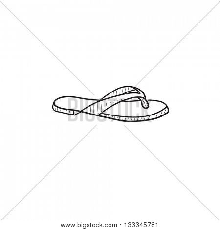 Flip-flops vector sketch icon isolated on background. Hand drawn Flip-flops icon. Flip-flops sketch icon for infographic, website or app.