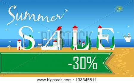 Inscription Summer Sale. Thirty percents. Cute white houses on the coast. Green banner. Plane in the sky. Illustration.