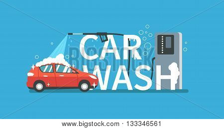 Vector concept for car washing service. Car wash service illustration.