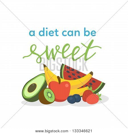 Diet motivation concept illustration with hand lettering text element. Vector illustration.
