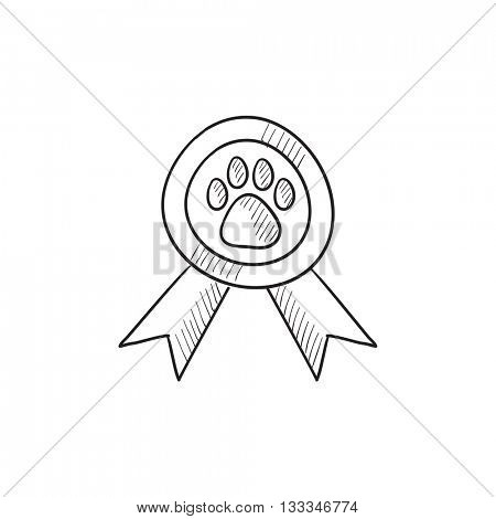 Dog award vector sketch icon isolated on background. Hand drawn Dog award icon. Dog award sketch icon for infographic, website or app.