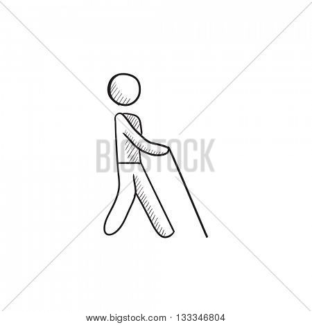Blind man with stick vector sketch icon isolated on background. Hand drawn Blind man with stick icon. Blind man with stick sketch icon for infographic, website or app.