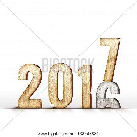 2016 Wood Number Year Change To 2017 Year In White Studio Room, New Year Concept