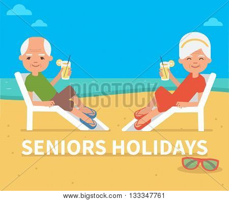 Senior age couple family people on summer vacation. Retirement travel. Vector flat illustration.