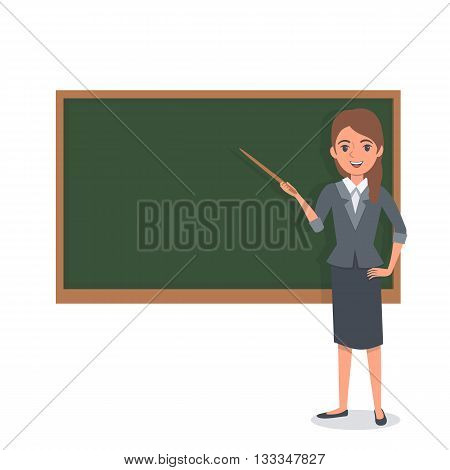 Female teacher holding pointer and pointed  at the chalkboard. Vector Illustration.