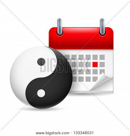 Page calendar with a marked red-letter day of the week. Near to the yin-yang