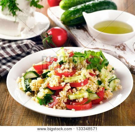Tabbouleh Salad With Bulgur, Parsley And Vegetables