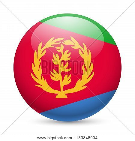 Flag of Eritrea as round glossy icon. Button with Eritrean flag