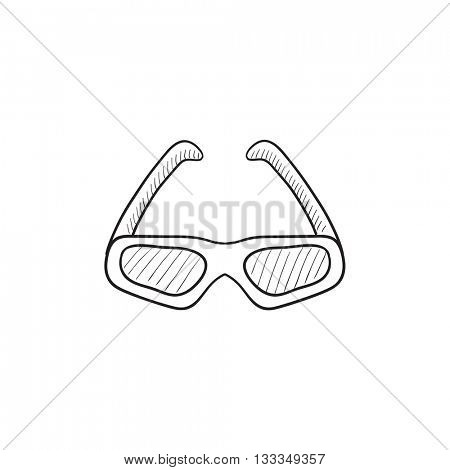 Three d cinema glasses vector sketch icon isolated on background. Hand drawn Three d cinema glasses icon. Three d cinema glasses sketch icon for infographic, website or app.