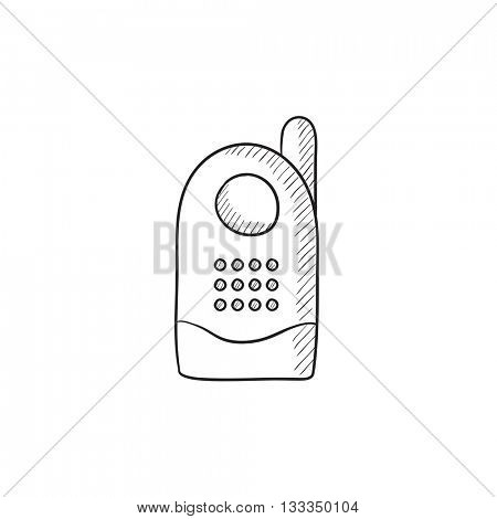 Radio baby monitor vector sketch icon isolated on background. Hand drawn Radio baby monitor icon. Radio baby monitor sketch icon for infographic, website or app.
