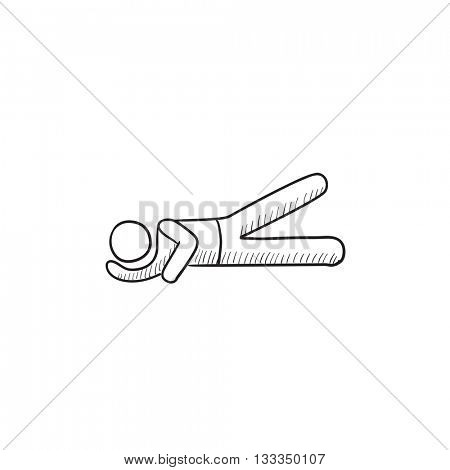 Man lying and lifting leg  vector sketch icon isolated on background. Hand drawn Man lying and lifting leg  icon. Man lying and lifting leg  sketch icon for infographic, website or app.