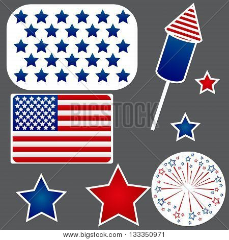 Set of stickers for Independence Day of the USA. Flag, stars and fireworks.