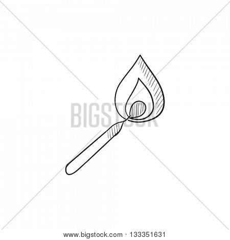 Burning match vector sketch icon isolated on background. Hand drawn Burning match icon. Burning match sketch icon for infographic, website or app.