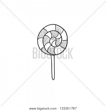 Spiral lollipop vector sketch icon isolated on background. Hand drawn Spiral lollipop icon. Spiral lollipop sketch icon for infographic, website or app.