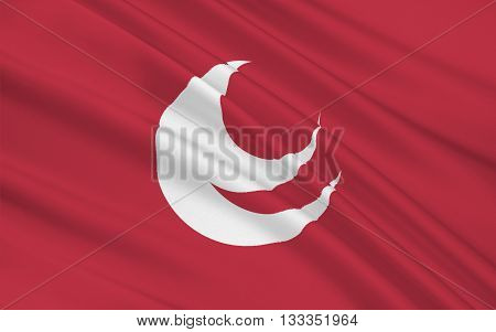 Flag of Hiroshima Prefecture is a prefecture of Japan located in the Chugoku region on Honshu island. 3D rendering