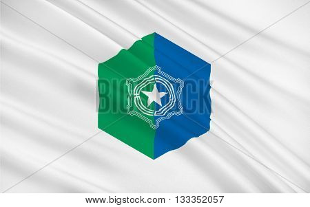 Flag of Sapporo is the fourth largest city in Japan by population and the largest city on the northern Japanese island of Hokkaido 3D rendering