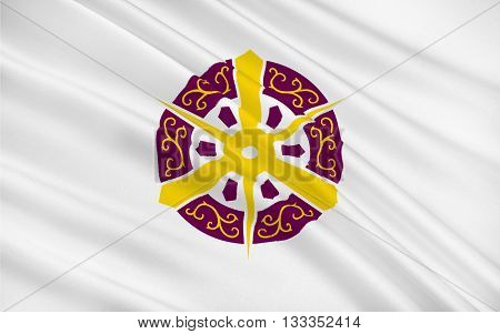 Flag of Kyoto is a city located in the central part of the island of Honshu Japan. 3D rendering