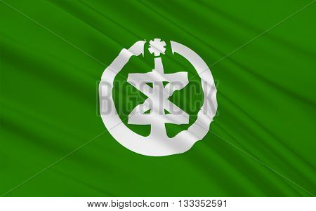 Flag of Niigata is the capital and the most populous city of Niigata Prefecture Japan. 3D rendering