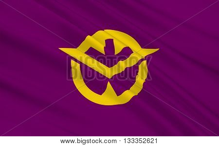 Flag of Okayama Prefecture is a prefecture of Japan located in the Chugoku region on the main island of Honshu. 3D rendering