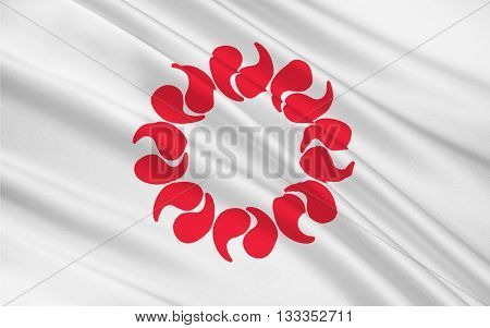Flag of Saitama Prefecture is a landlocked prefecture of Japan located in the Kanto region of the island of Honshu. 3D rendering