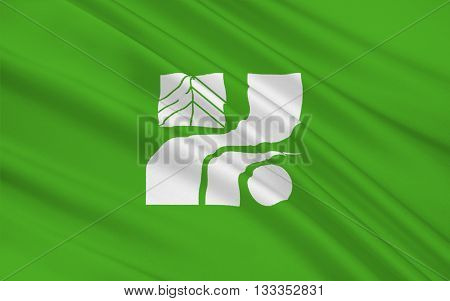 Flag of Tochigi Prefecture is a prefecture located in the Kanto region on the island of Honshu Japan 3D rendering