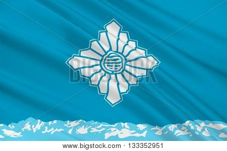 Flag of Toyama is the capital city of Toyama Prefecture Japan. 3D rendering