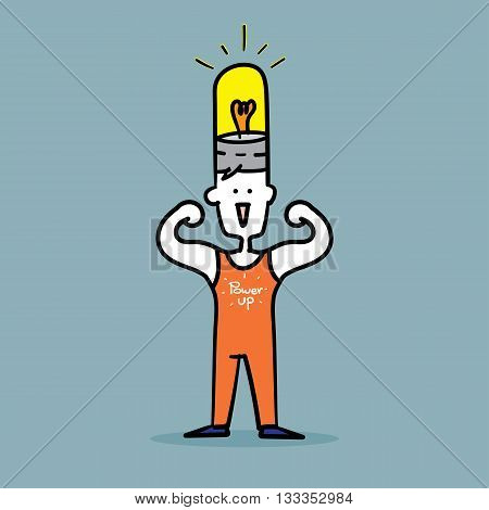 Man Flex Muscles To Show Strong Power Up Idea