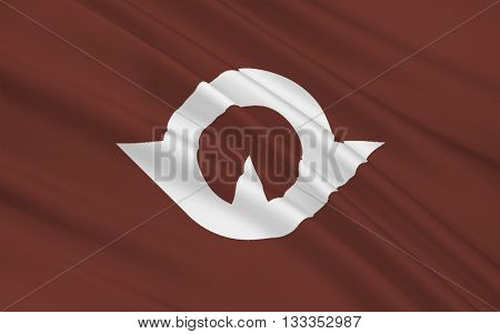 Flag of Yamaguchi Prefecture is a prefecture of Japan in the Chugoku region of the main island of Honshu. 3D rendering