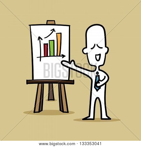 Businessman presenting about gain profit on color background