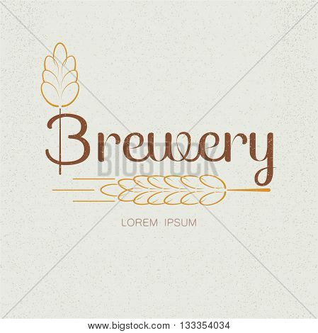 Brewery textured vector logo with wheat spica