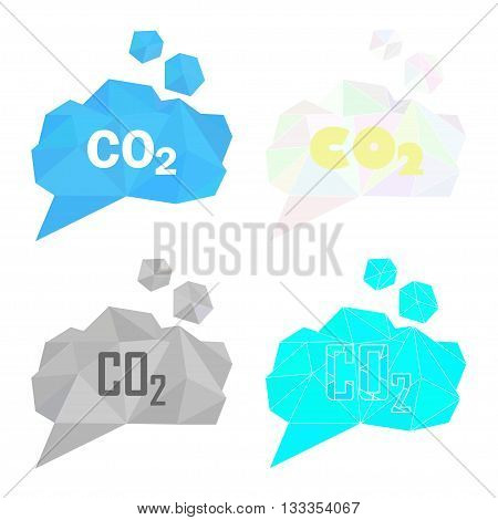 CO2 carbon dioxide gas vector illustration set. Low poly polygonal style concept for air pollution gas emission global warming ecological problems. Gray smoke cloud bricht blue light color