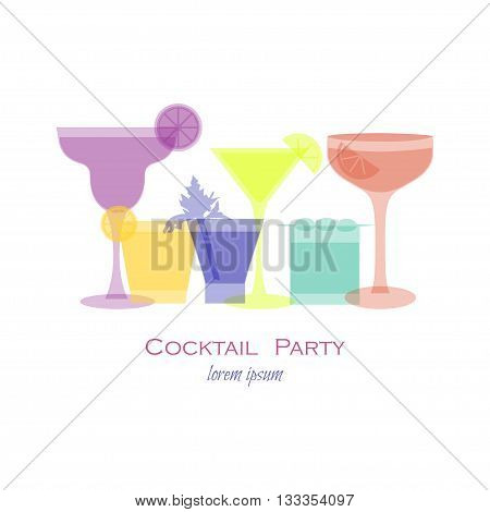 Cocktail party template with cocktail glass. Vector illustration with cocktail silhouette for beverage menu cocktail party invitation card banner flyer