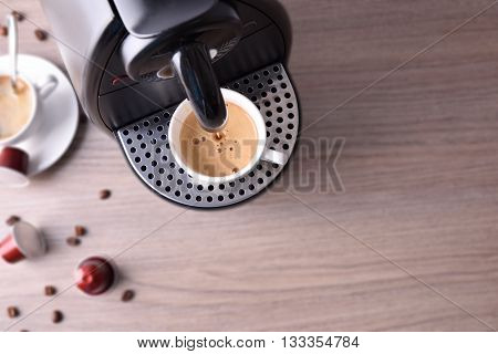 Expresso Coffee Machine On Wood Table Top View