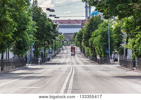 Kazan Russia - June 12 2015: One of the Kazan's streets and wall of the Kazan Kremlin