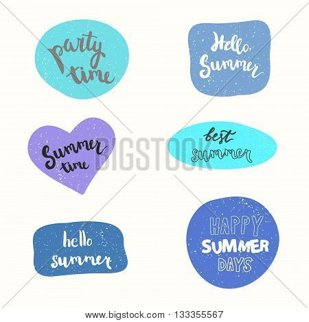 Summer stickers vector set. Party time, hello summer, summer time, best summer, happy summer days.
