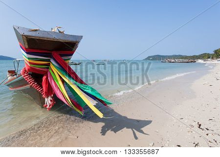 Long tail boat ribbon close-up. Samui beach in Thailand