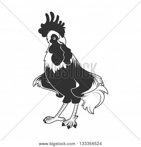 Rooster - symbol of 2017. Vector cartoon character in black and white style.