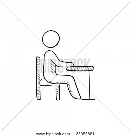 Student sitting on chair at the desk vector sketch icon isolated on background. Hand drawn Student sitting at the desk icon. Student sitting at the desk sketch icon for infographic, website or app.